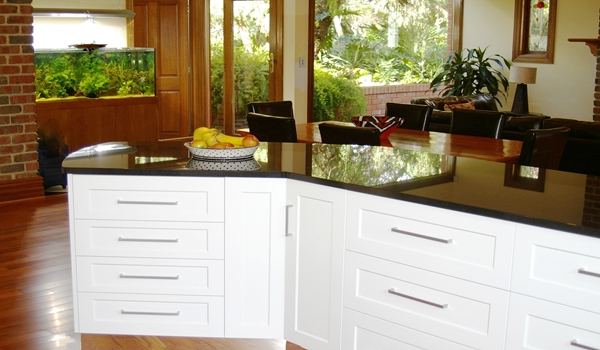 Absolute Black Granite tops and Shaker Doors by Adelaide's Compass Kitchens