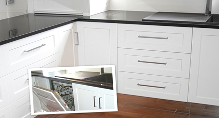 Hidden Dishwasher with mirror bases by Compass Kitchens